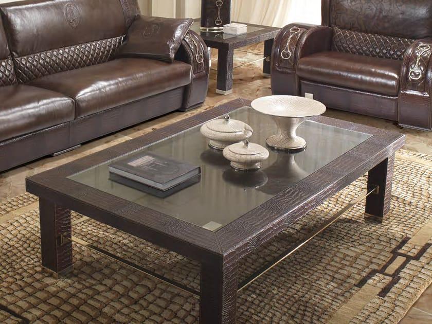 Tavolino basso rettangolare in pelle da salotto ASCOT ONE 911   Tavolino rettangolare by Formitalia
