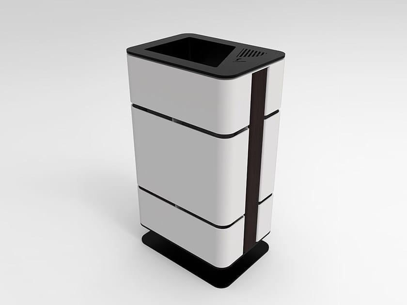 Galvanized steel litter bin with ashtray ASH | Litter bin by CITYSì