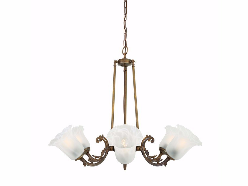 Brass chandelier ASHBOURNE Clear by Mullan Lighting