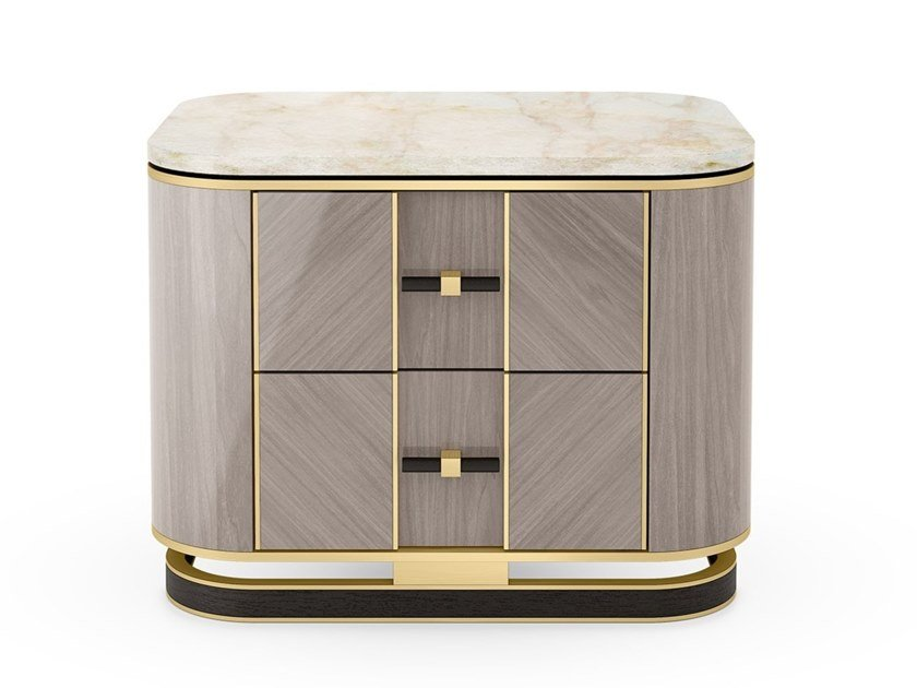 Rectangular wooden bedside table with drawers ASHI | Bedside table by FRATO