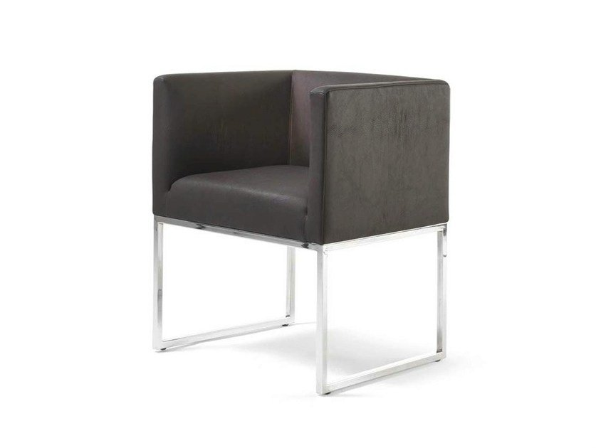 Sled base leather easy chair with armrests ASIA by Frigerio Salotti