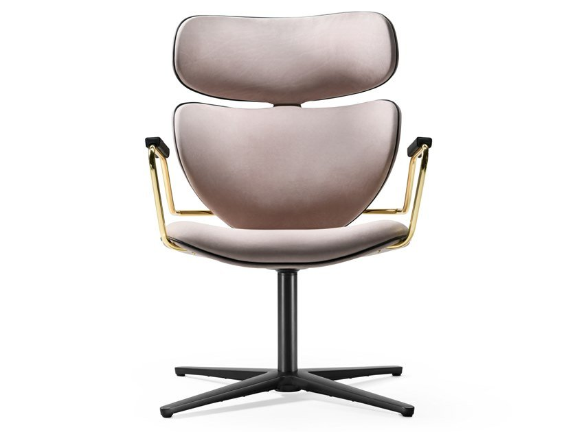 Swivel fabric chair with armrests ASIA SWIVEL by Black Tie