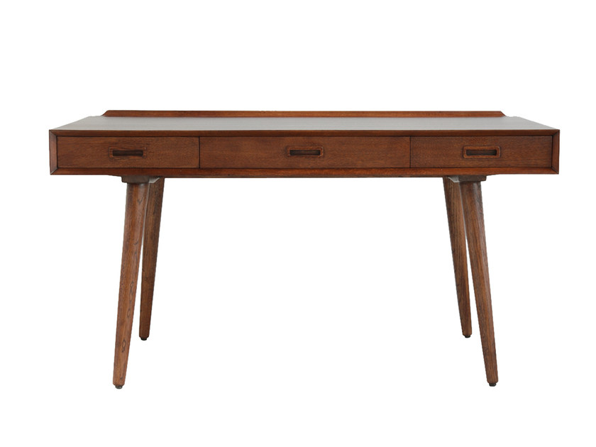 Rectangular walnut writing desk with drawers ASMARA by CFOC