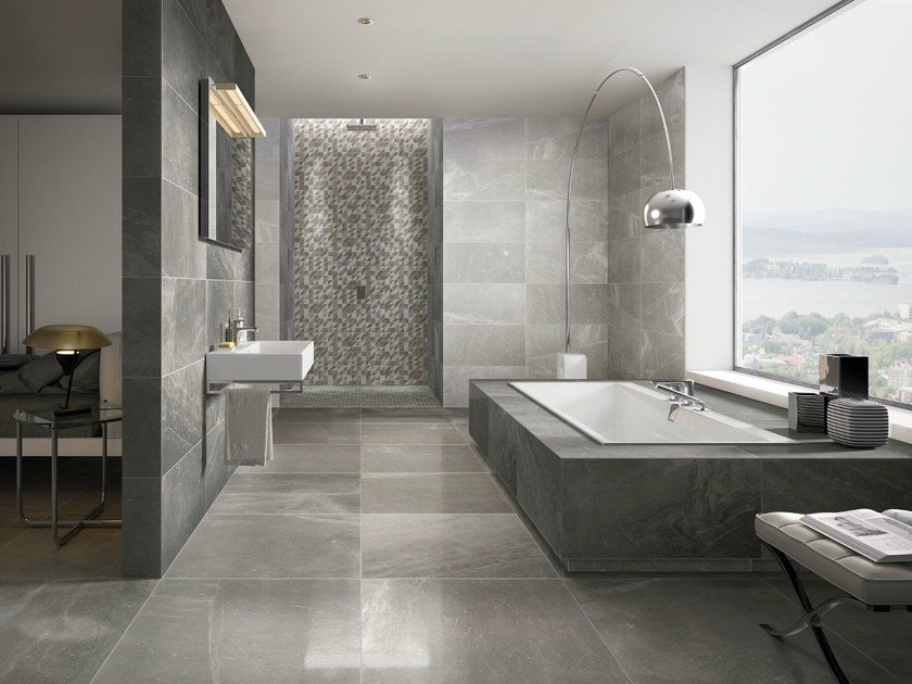 Porcelain stoneware wall floor tiles with marble effect for Carrelage villeroy et boch salle de bain