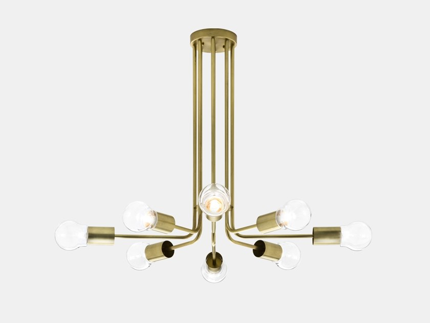 Brass ceiling lamp ASTRO 276.09.ONT by Il Fanale