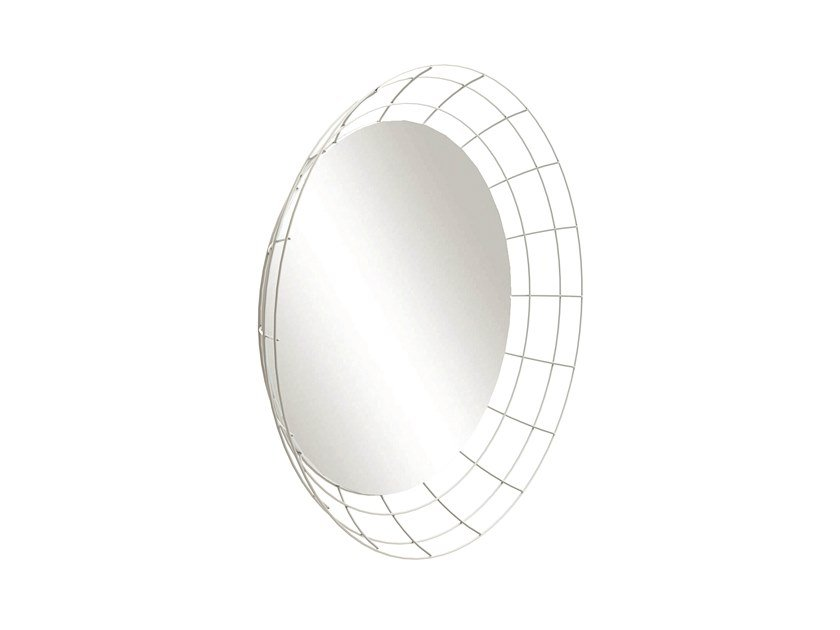 Wall-mounted framed iron mirror ASTRO by Barel