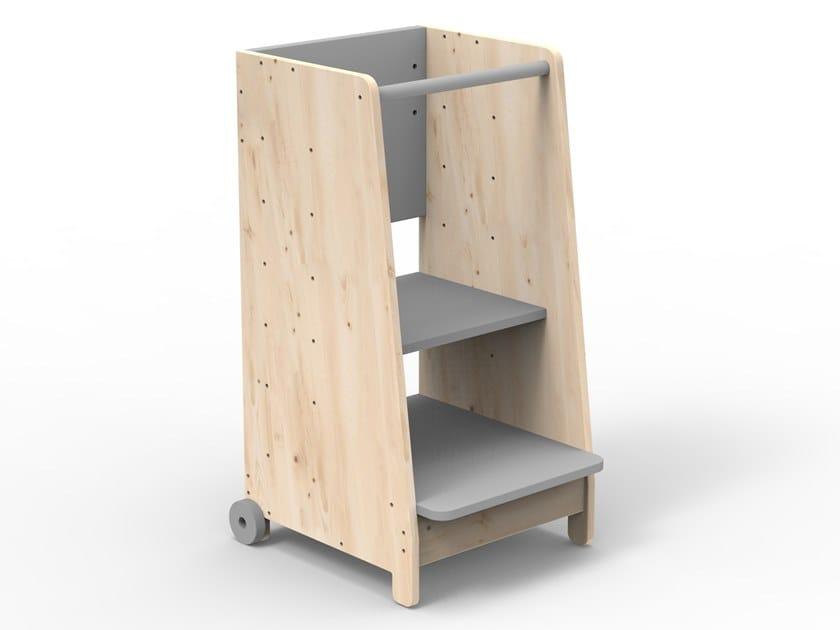 Sgabello in legno ad altezza regolabile ASYMETRY   Sgabello by Mathy by Bols