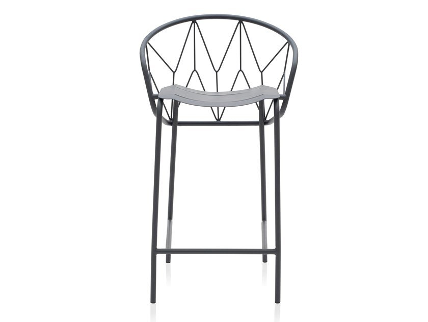 Powder coated steel stool with footrest ATAMAN MESH   Stool by Garda Furniture
