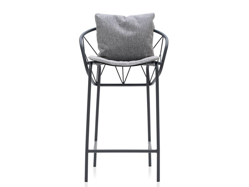Powder coated steel stool with integrated cushion ATAMAN MESH | Stool with integrated cushion by Garda Furniture