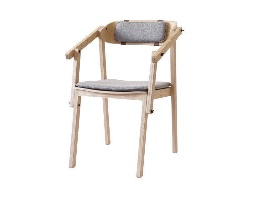 Ash chair with integrated cushion ATELIER | Chair with armrests by Askia