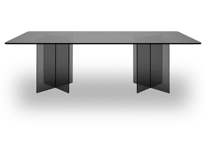 Rectangular tempered glass table ATELIER by EXENZA