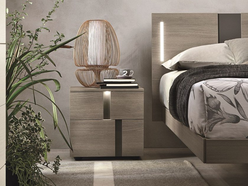 Rectangular ash bedside table with drawers ATHENA | Ash bedside table by Gruppo Tomasella