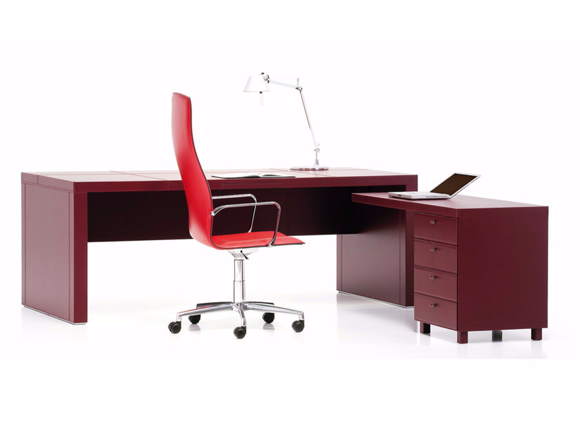 Tanned leather executive desk with drawers ATHENA by Polflex