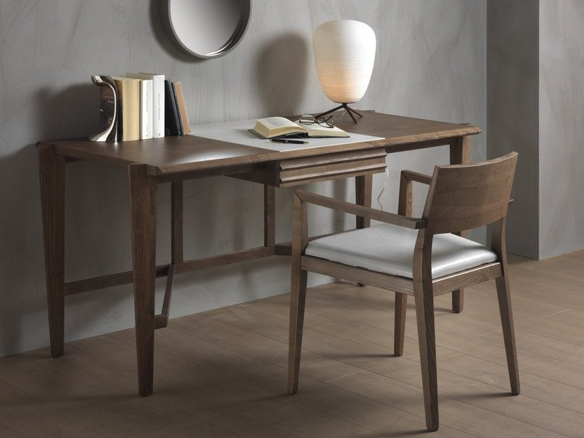 Rectangular solid wood writing desk ATHOS by Pacini & Cappellini
