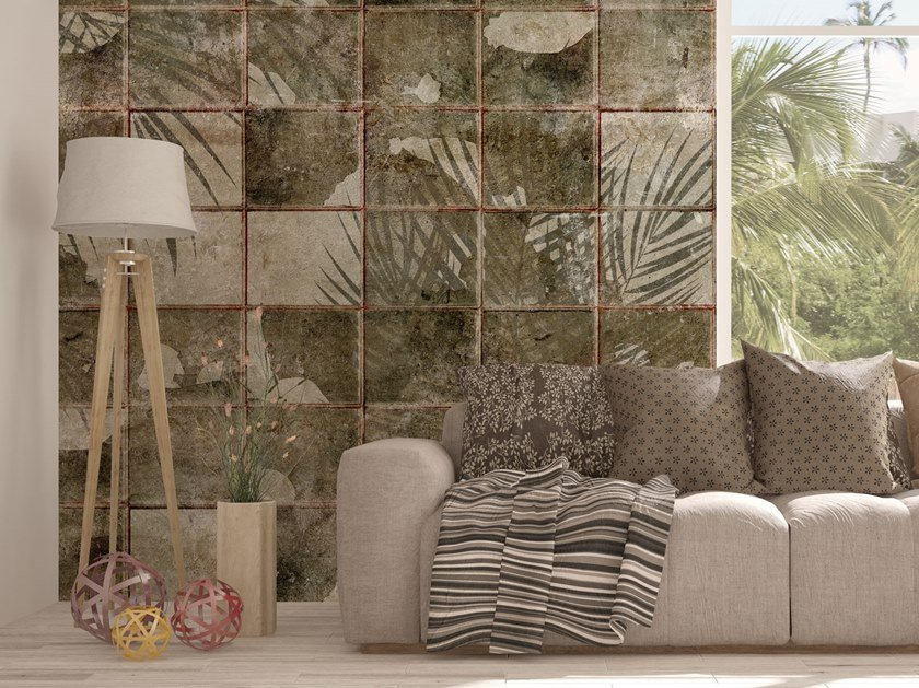 Check Digital printing wallpaper with floral pattern ATLANTICA by Tecnografica Italian Wallcoverings