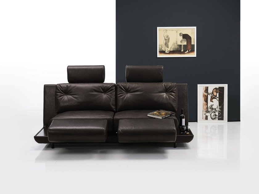 Convertible Leather Sofa With Headrest ATTITUDE | Leather Sofa By Brühl