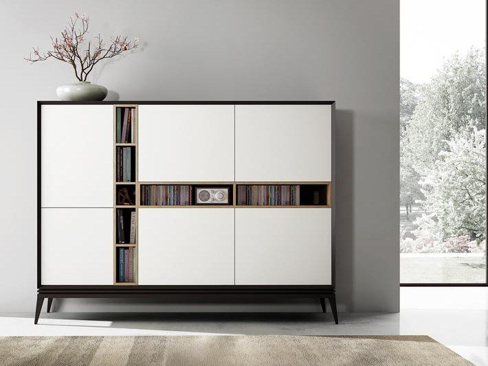 Lacquered wooden highboard AUDREY | Highboard by Kico