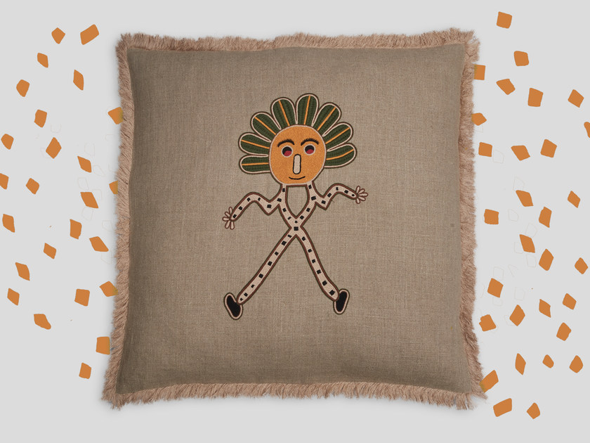 Hand embroidered cushion AUNTI by Jupe by Jackie
