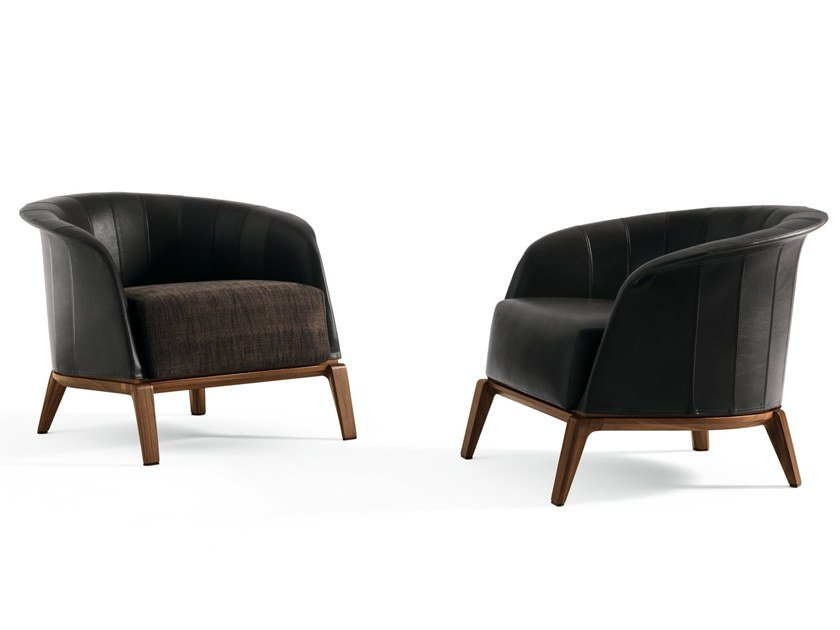 Leather armchair with armrests AURA | Armchair by GIORGETTI