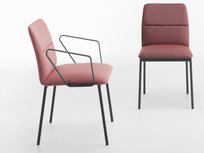 Fabric chair with armrests AURA | Chair with armrests by Crassevig