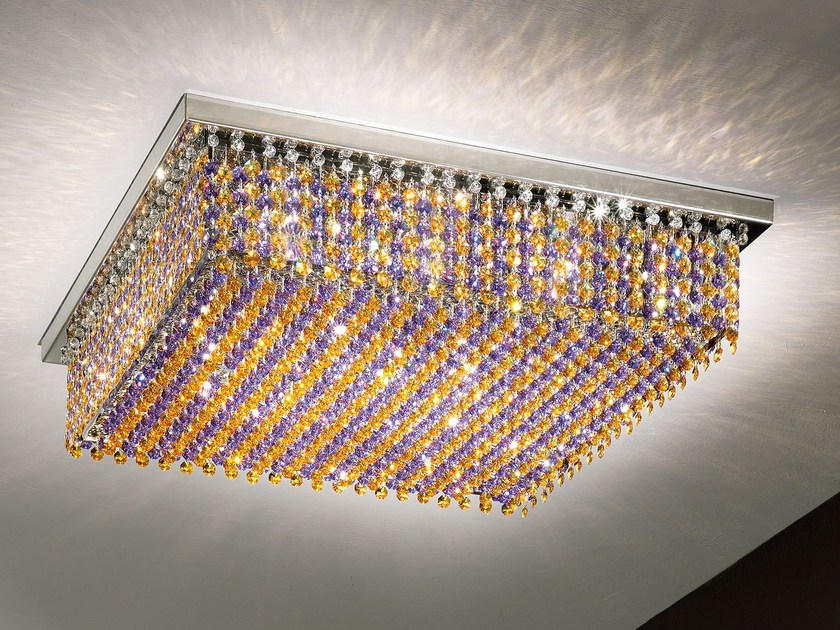 Direct-indirect light ceiling lamp with Swarovski® crystals AUREA | Ceiling lamp by Masiero