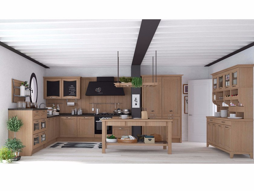 Solid wood fitted kitchen with handles AUREA NEW FOLK by CREO Kitchens
