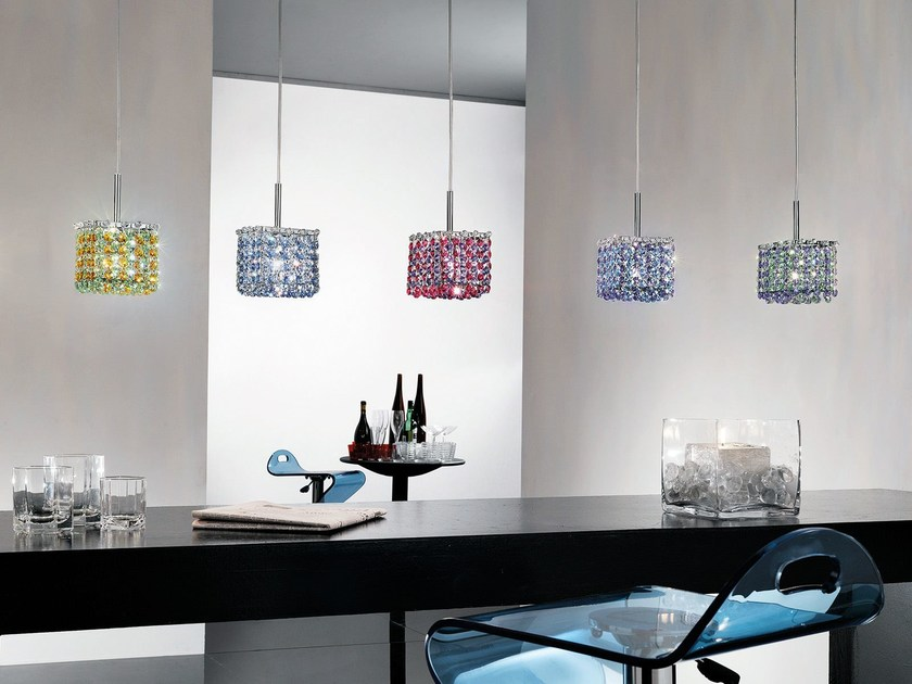 Direct-indirect light pendant lamp with Swarovski® Crystals AUREA | Pendant lamp by Masiero