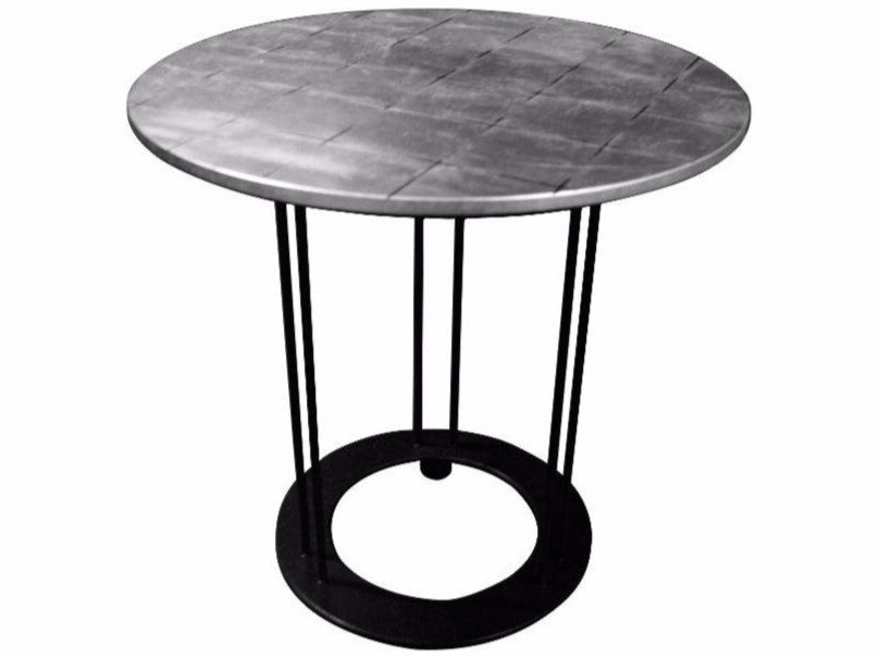 Round Silver Leaf Coffee Table For Living Room Aureola By Garbarino
