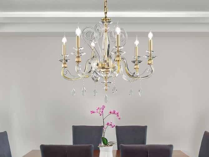 Crystal chandelier with Swarovski® Crystals AURORA L6 by Euroluce Lampadari