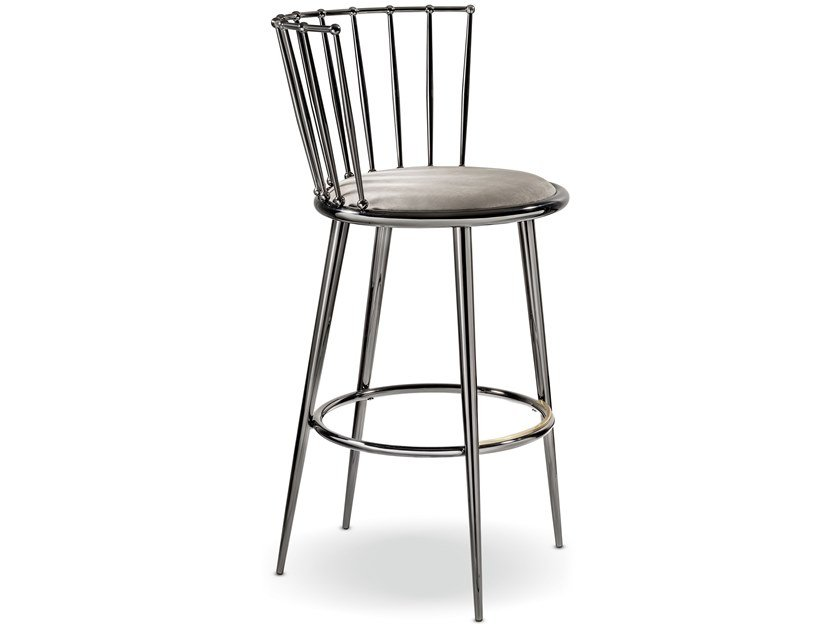 Metal stool with integrated cushion AURORA | Metal stool by Cantori
