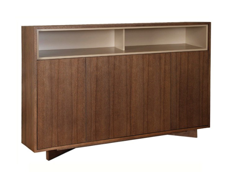 Wood veneer highboard with doors AUSTIN by Conceito Casa