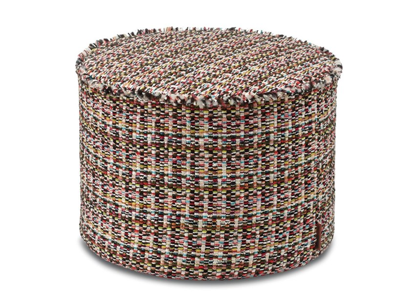 Pouf cilindro in tessuto jacquard lana-cotone effetto tweed AUSTIN by MissoniHome