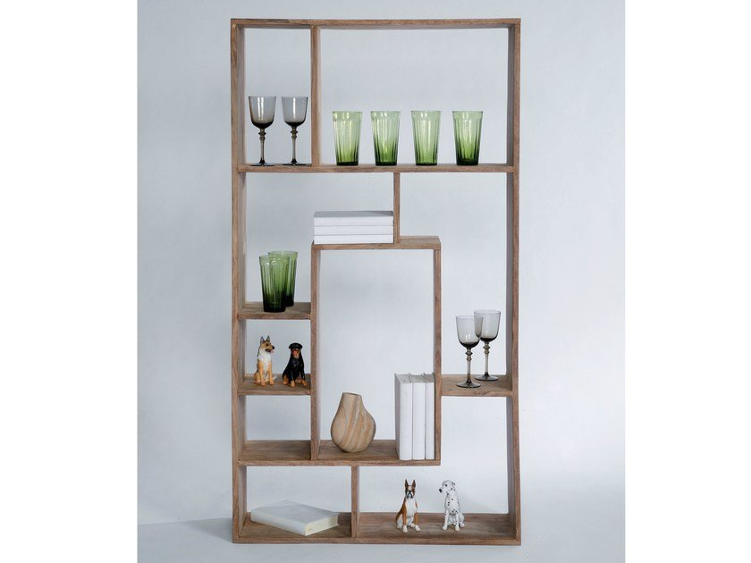 Open double-sided wooden bookcase AUTHENTICO MULTITASK 150 by KARE-DESIGN