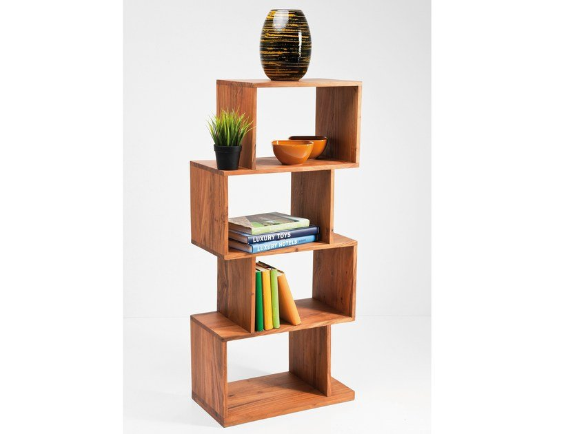 Open wooden bookcase AUTHENTICO ZICK ZACK 120 by KARE-DESIGN