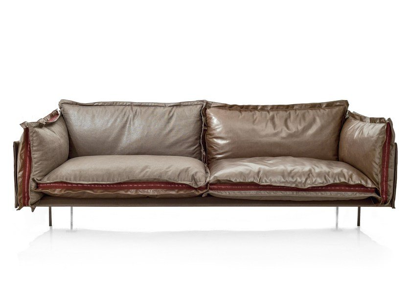 2 seater leather sofa AUTO-REVERSE | Leather sofa by Arketipo
