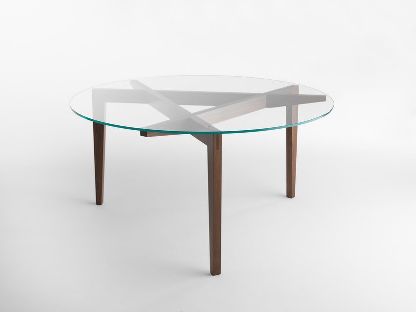 Round wood and glass table AUTOREGGENTE | Round table by Casamania & Horm