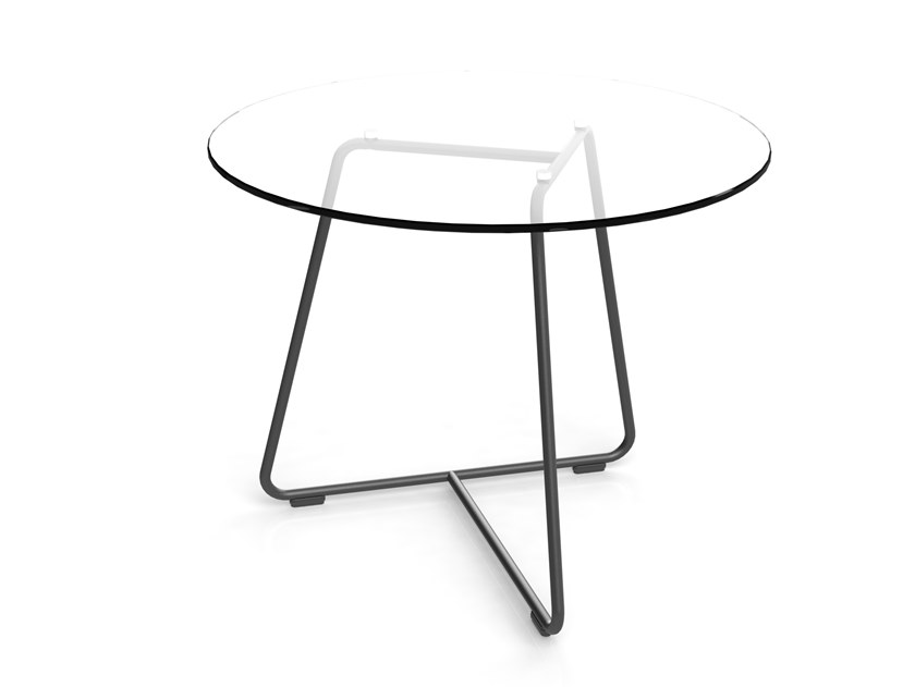 Averio Glass Coffee Table, Round Metal Coffee Table With Glass Top
