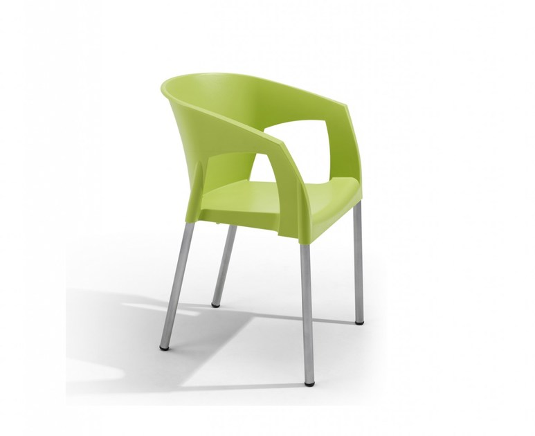 Stackable polypropylene garden chair with armrests AVA by Adico