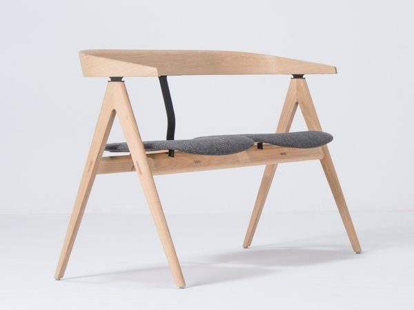 Upholstered fabric bench with back AVA | Fabric bench by Gazzda