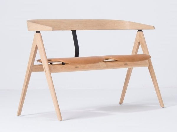 Upholstered leather bench with back AVA | Leather bench by Gazzda