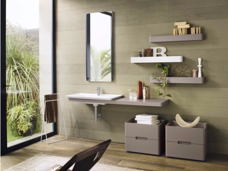 Laminate bathroom cabinet / vanity unit PFS SOFT - Composizione 2 by INDA®