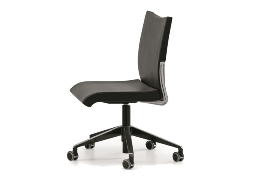 Height-adjustable leather task chair with 5-Spoke base with casters AVIA 4100 by TALIN