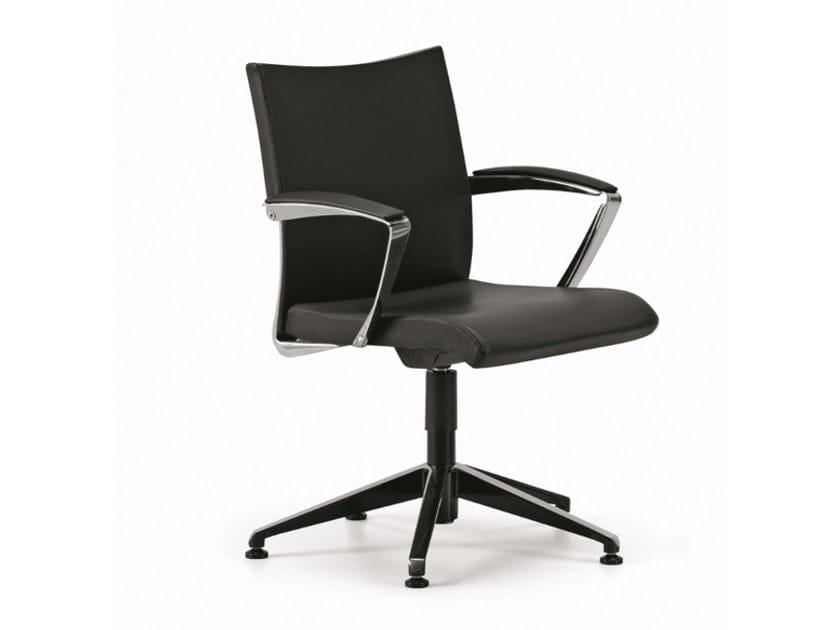 Sedia ufficio operativa ad altezza regolabile in pelle a 5 razze con braccioli AVIA 4104 by TALIN