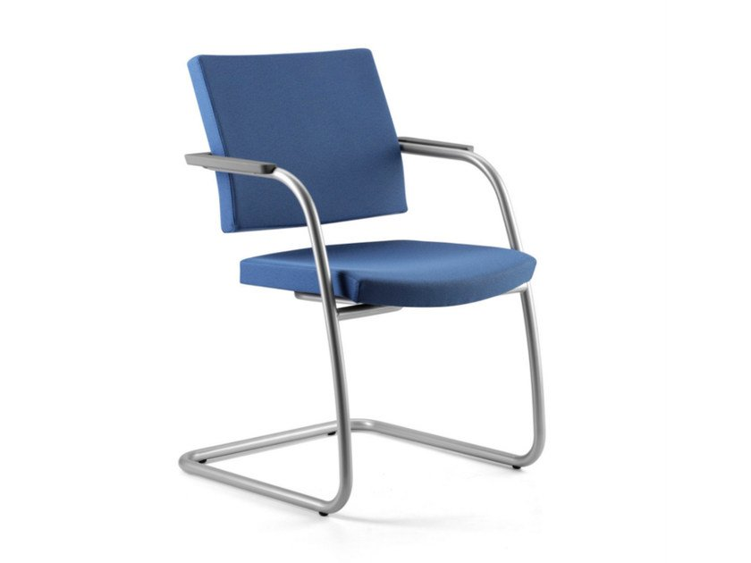 Cantilever fabric reception chair with armrests AVIAMID 3418 by TALIN