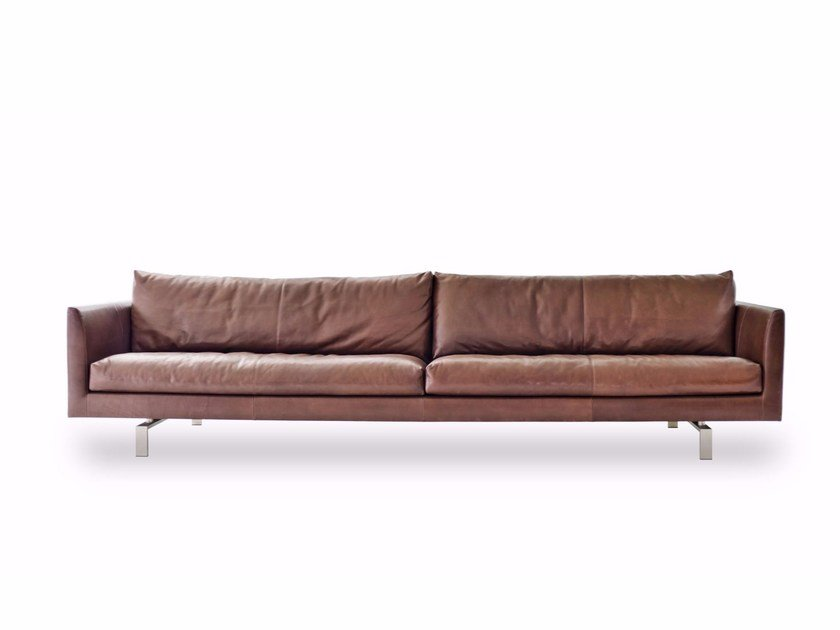 Sled base upholstered leather sofa AXEL | Leather sofa by Montis