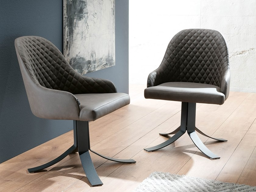 Swivel upholstered chair with armrests AXEL by Ozzio Italia