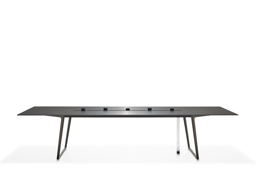 Rectangular meeting table with cable management AXY | Meeting table with cable management by MDF Italia