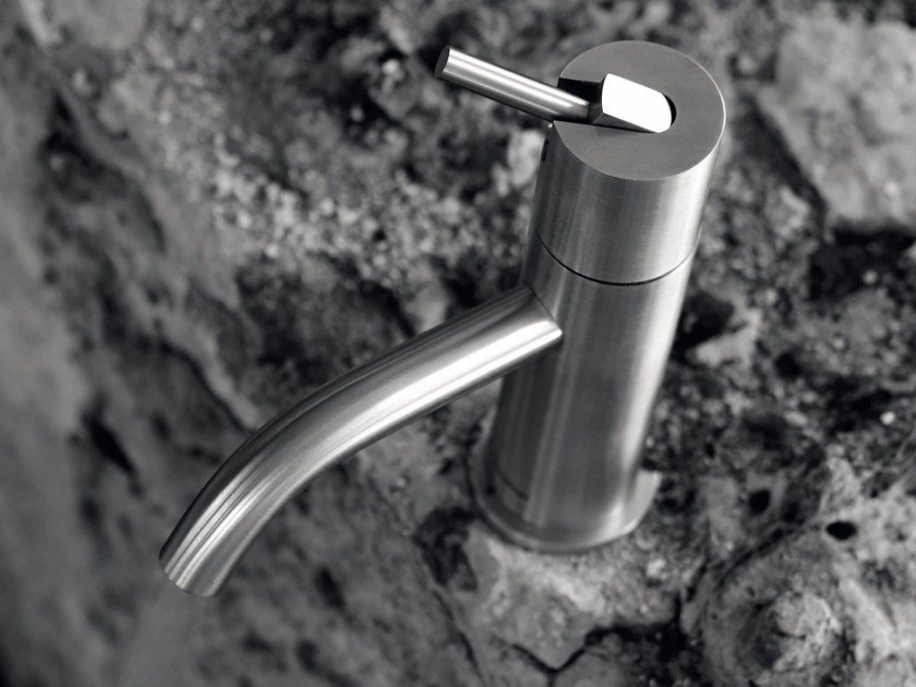 Countertop single handle stainless steel washbasin mixer AYATI   Countertop washbasin mixer by Antonio Lupi Design