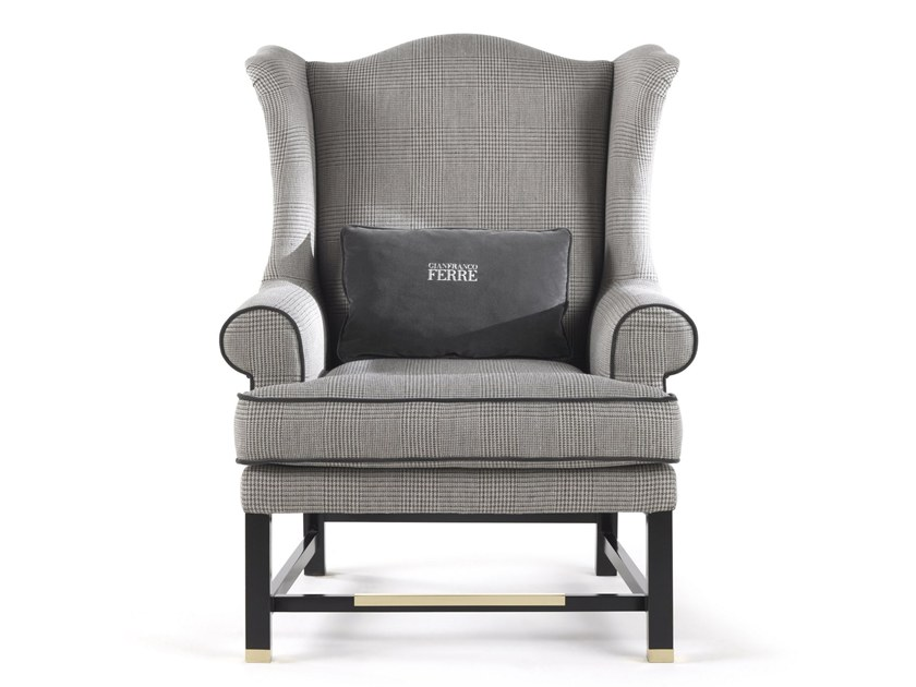 Bergere fabric armchair with armrests AYLA | Armchair by Gianfranco Ferré Home