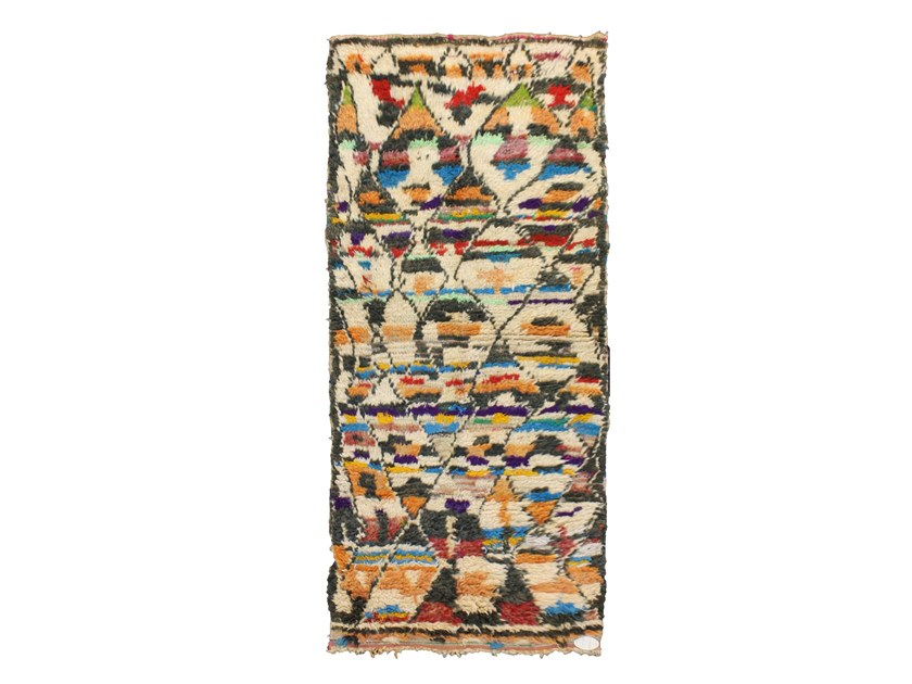 Patterned long pile rectangular wool rug AZILAL TA664BE by AFOLKI